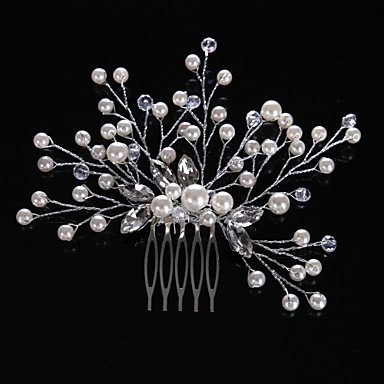 zhENfu Rhinestone Crystal Imitation Pearl Headpiece-Wedding Special Occasion Casual Office & Career Hair Combs 1 Piece 1111cm,Sliver Headdress