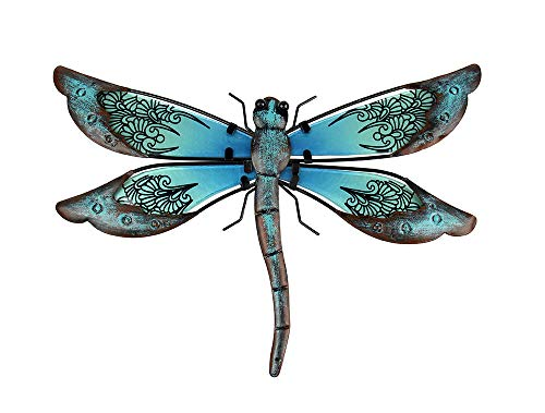 Liffy Metal Dragonfly Garden Wall Decor Outdoor Fence Art Outside Hanging Decorations for Living Room, Bedroom