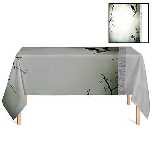 SATVSHOP Summer Outdoor Tablecloth /60x84 Rectangular,Horror House Crow Bird on Leafless Branch Cemetery Death Spirit Animal Evil Funeral Sepia Black.for Wedding/Banquet/Restaurant. (Batman A Death In The Family Value)