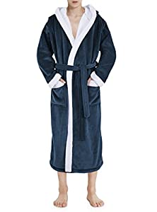 David Archy Men's Long Micro Fleece Hooded Robe Bathrobe Gown Loungewear(S,Navy Blue)