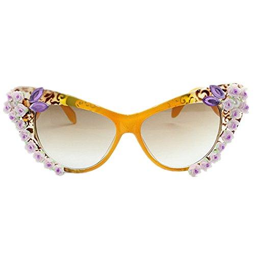 personalidad Gafas la de la hecha Eyes la Cat de sol flor de mano ligero de las Ultra de señora UV a polarizadas de la Protección de vacacio mujeres Pearl conducción Gafas la Crystal sol para de playa AIHU5x