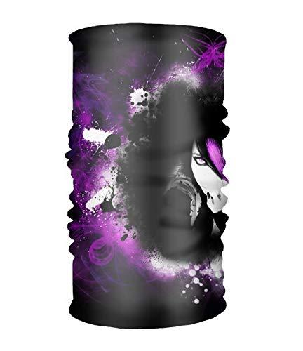 Emo Girl Facial (Unisex Artistic Women Human Hair Woman Girl Pink Purple Emo Quick Dry Microfiber Headwear Outdoor Magic Bandana Neck Gaiter Head Wrap Headband Scarf Face Mask Ultra Soft Elastic)