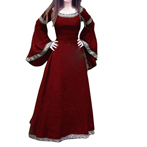 Mysky Women Medieval Vintage Renaissance Fit Cosplay Maxi Dress Ladies Casual Irregular Flare Sleeve Long Dress ()