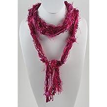 Hot Pink Scarf, Fuchsia Skinny Scarf, Boho Chic, Skinny Scarves, Women's Scarves, Fringe Scarf, Bohemian Scarf, Boho Scarves