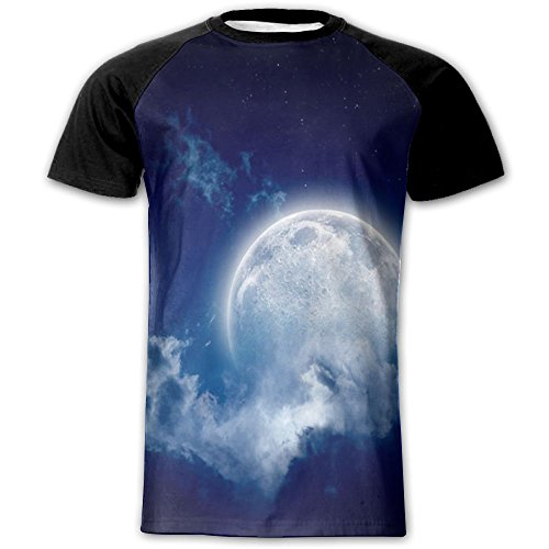 VisionToto Men's T-shirt Full Side Print Cool Bright Planet Blouse Material Short Sleeved - Bands Ray Meaning