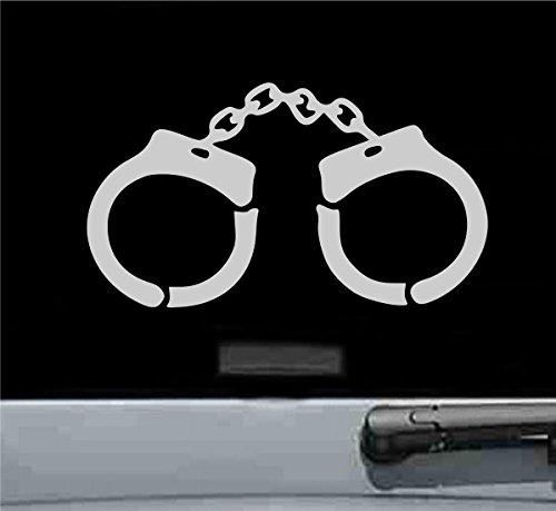 JS Artworks Handcuffs Vinyl Decal Sticker (Silver)