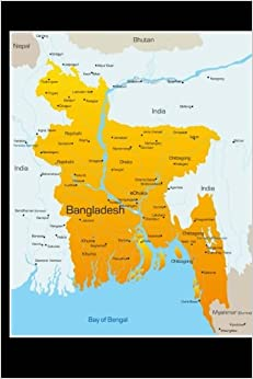 Map of Bangladesh Journal: 150 page lined notebook/diary