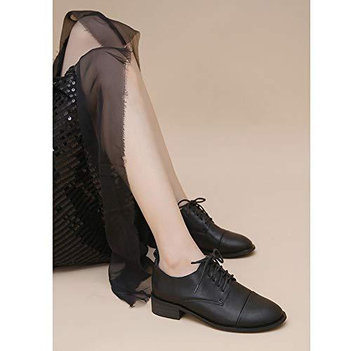 Da Lacci Piatte Arrotondata Ufficio Pelle Scarpe Artificiale Con Stringate Donna Black Classica Punta In Oxford Comode PtXWq