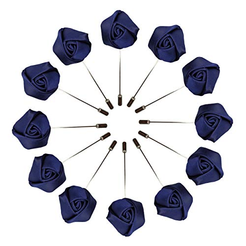 Sanrich Rose Boutonniere Men's Lapel Pins Satin Flower 12 Pack Groom Wedding Boutonniere Suit Brooch Outfit Accessories (navy blue)