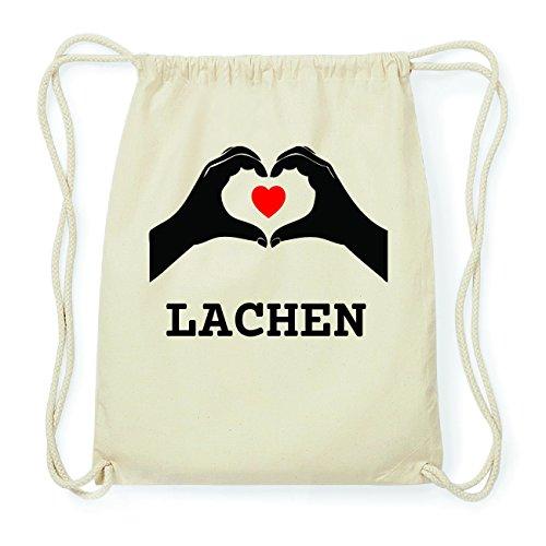 JOllify LACHEN Hipster Turnbeutel Tasche Rucksack aus Baumwolle - Farbe: natur Design: Hände Herz