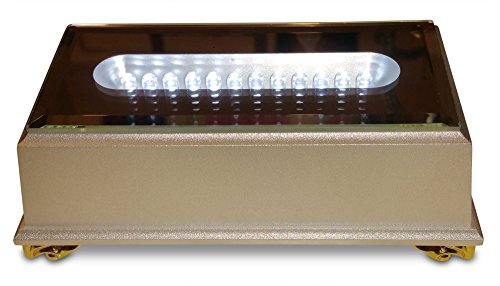 Santa Cruz Rectangular 12 LED White Light Stand/Base for Crystal Glass Art - Pedestal (Cherry Display Strip Wood)