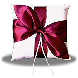 SACASUSA(™) RED Satin Bow WHITE Wedding Ring Pillow Bearer