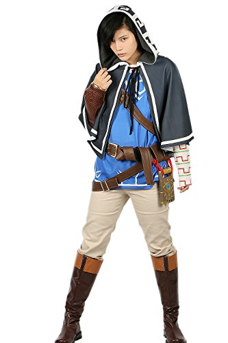 xcoser Link Costume Cloak & Tunic & Shirt & Pants & Belt Outfit For Halloween -