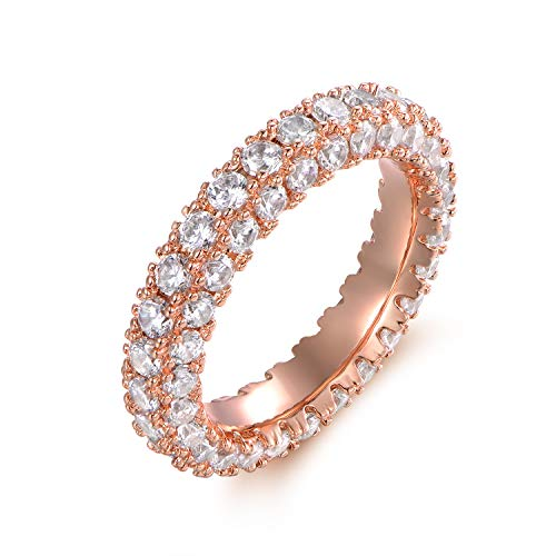 Barzel 18k White Gold Plated Cubic Zirconia Eternity Band Ring Wide Band Statement Cocktail Jewelry (Rose Gold, 7)