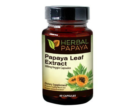 Papaya Leaf Extract - Natural Blood Platelet Level Boost, Bone Marrow Support, Immune Gut & Digestive Enzymes Health - 10:1 Strength - 60/600mg Veggie Capsules - Made in USA by Herbal Goodness ()