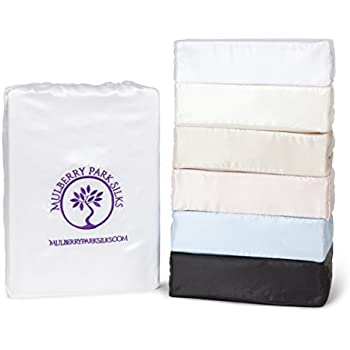 """Queen Silk Sheet Set (15"""" Pocket) - White - DELUXE 22 Momme 100% Pure Mulberry Charmeuse Natural Bedding - OEKO-TEX Certified - Seamless"""