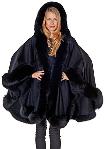 Madison Avenue Mall Womens Black Hooded Cashmere Cape With Fox Fur Trim by Madison Avenue Mall