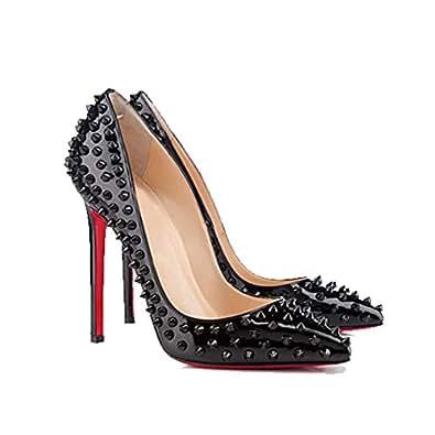 Amazon.com | San Hojas Patent Leather Pumps With Rivet High Heels