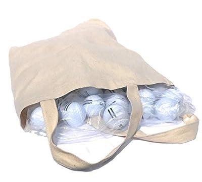 Strata Golf Balls, 100 New Super Range White with Black Stripes Model 4027, in Reusable Canvas Carry Bag