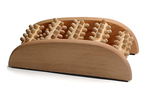 Bamboo Dual Foot Massager Roller for Refreshing Tired & Achi