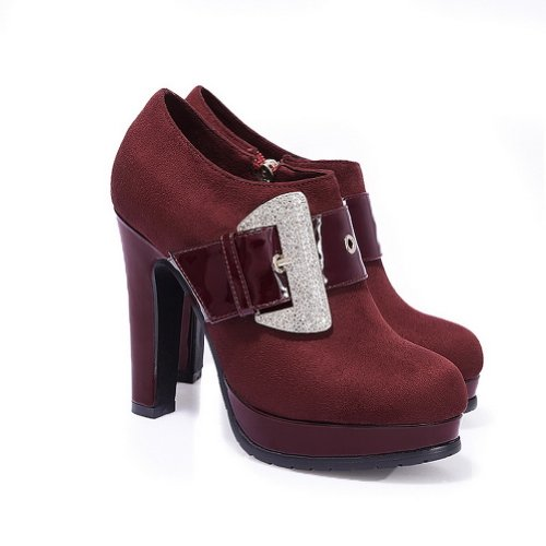 Diamond 4 Claret Heel PU Closed US M Womens Glass with Pumps Toe High Round WeiPoot Solid Frosted B ORw76qWnF