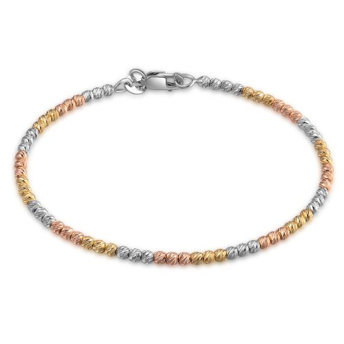 MaBelle 14K Tri-Color Gold Yellow, Rose and White Beads Bangle (Width 2.2'') by MaBelle