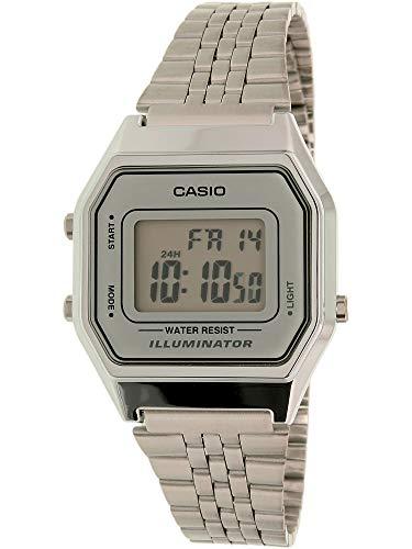 Casio Ladies Mid-Size Silver Tone Digital Retro Watch LA-680WA-7DF ()