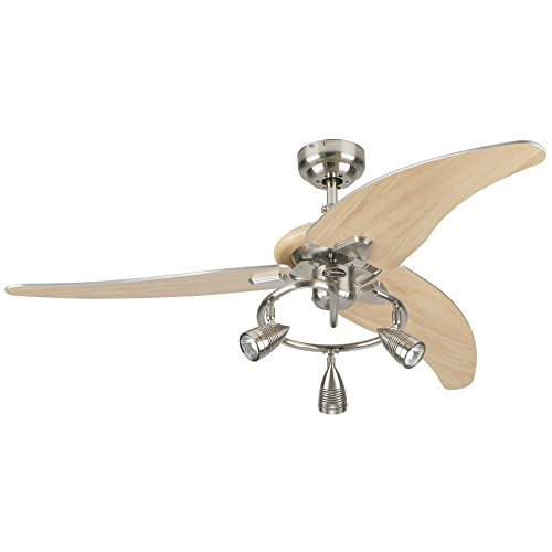 7850500 Elite 48-Inch Brushed Nickel Indoor Ceiling Fan, Light Kit with Three Spotlights