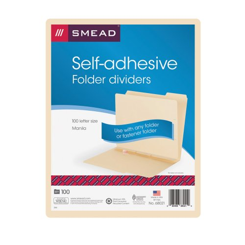 (Smead Self-Adhesive Folder Divider, Side Flap Style, Letter Size, Manila, 100 per Box (68021))