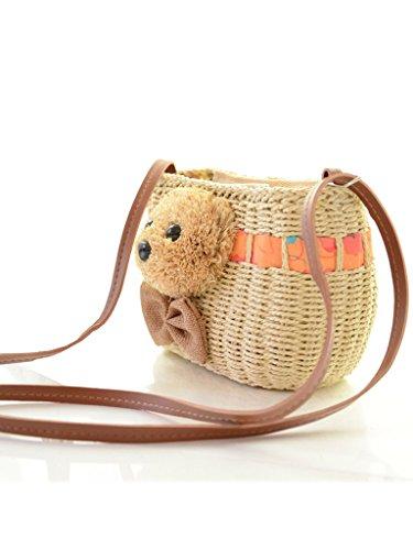 Sulida Girl's Cute Bear Straw Woven Shoulder Bag /Summer Beach Bag /Cross body bag Pastoral Style(Khaki)