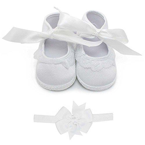 - Delebao Baby Girl Infant Christening Baptism Satin Shoes Bootie Dance Ballerina Slippers (9-12 Months, Shoes & Headband)