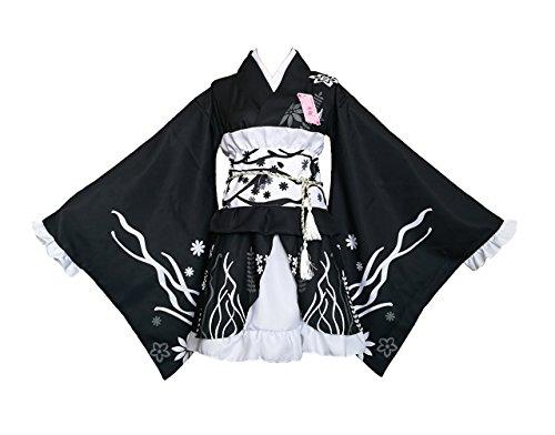 AvaCostume Womens Printing Kimono Dress Short Style Party Dress, Black (Geisha Dress)