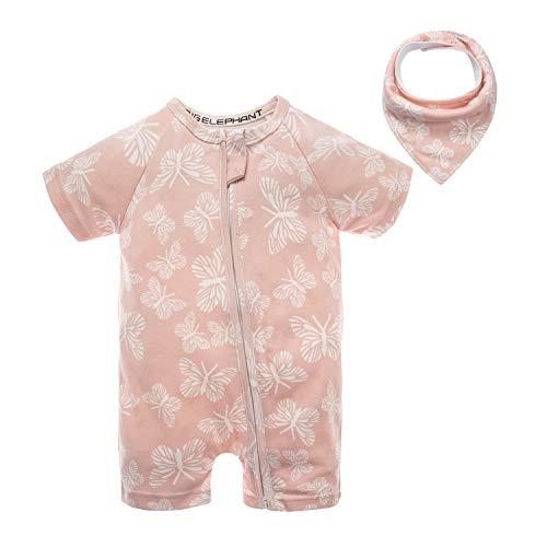 BIG ELEPHANT Baby Girls'2 Piece Summer Short Sleeve Pajama Graphic Zipper Romper with Bib