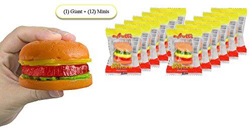 ULTIMATE GIANT GUMMY HAMBURGER CANDY SAMPLER – (1) Giant Gummy Hamburger + (12) Mini Gummy Burgers, Individually (How Are Twizzlers Made)