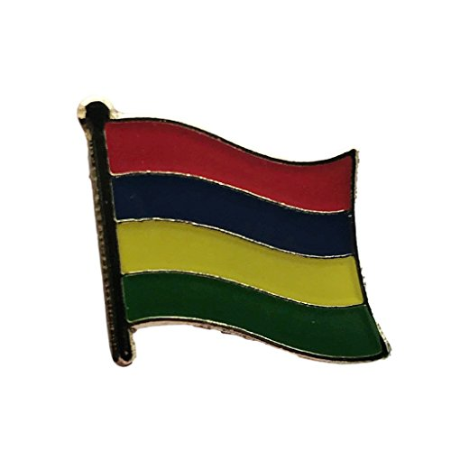 International Flag Pins - Backwoods Barnaby Mauritius National Flag Lapel Pin/International Travel Pins with Gold Clasp