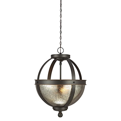 - Sea Gull Lighting 7710402-715 Sfera Two-Light Semi-Flush Convertible Pendant with Mercury Glass Bowl, Autumn Bronze Finish