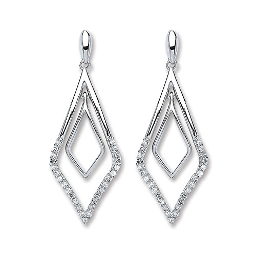 Jareeya - Double Kite formes Pendants d'oreilles, 9 ct or blanc, diamants 0.15 CT