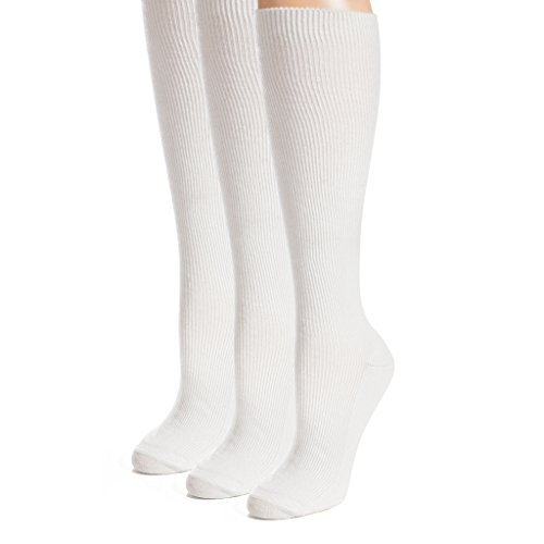 The Right Fit Mens Colonial Ribbed Casual Comfort Work Knee High Dress Socks, White, 9-11, 3 Pk