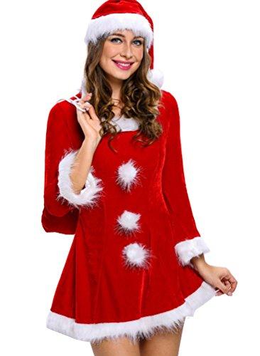 Baymate Damen Weihnachtsmann Cosplay Kostüm Sexy Kleid für ...