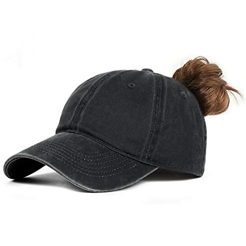 Glamorstar High Ponytail Adjustable Washed Dyed Hat Ponycaps Messy High Bun Hat Baseball Cap Horsetail Black