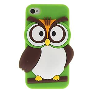 Cartoon Style 3D Owl Pattern Silicone Soft Case for iPhone 4/4S (Assorted Colors) , Black