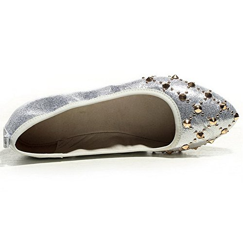 BalaMasa Girls Punk Studded Rivet Pull-On Soft Material Pumps-Shoes Silver qkDBpEoI24