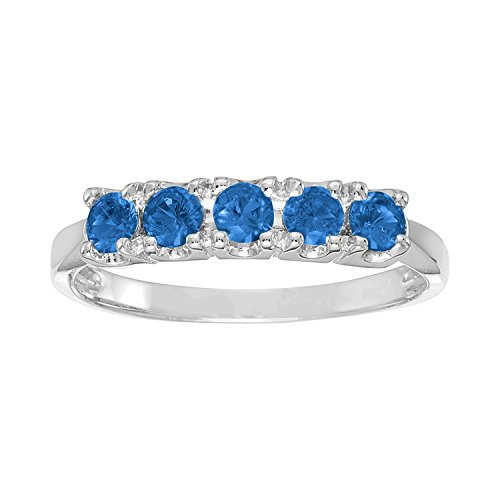 ArtCarved Sweet Moment Simulated Sapphire September Birthstone Ring, 10K White Gold, Size 7