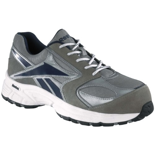 Reebok Mens Grey/Blue Leather Mesh Athletic Oxford Ateron Comp Toe 10 M