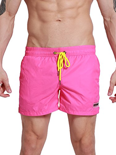 Neleus Men's Dry Fit Athletic Shorts with Elastic Waist,802# Rose Red,USA S,Tag M