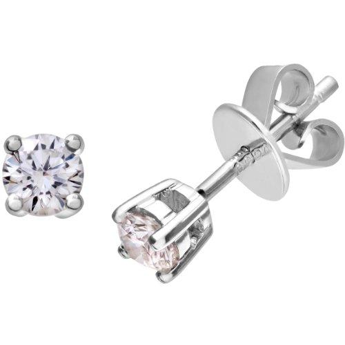 Revoni-Boucles d'Oreilles Clous Femme-Diamant rond brillant certifié IJ/I, or blanc 18carats Diamant Boucles d'oreilles, poids-Diamant 0.25Cts