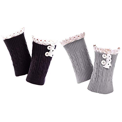 2 Pack of Womens Lace Stretch Boot Leg Cuffs Leg Warmers Socks Topper Cuff -