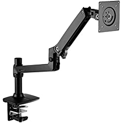 AmazonBasics Premium Single Monitor Stand - Lift Engine Arm Mount, Aluminum