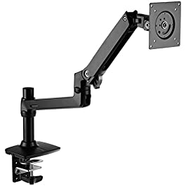 Amazon Basics Premium Single Monitor Stand – Lift Engine Arm Mount, Aluminum – Black
