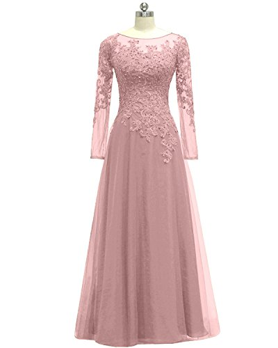 Pretygirl Women's Appliques Tulle Mother Of The Bride Dress Long Sleeves Evening Formal Gown (US 6, Blush)